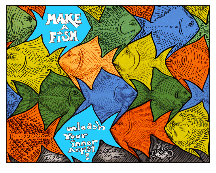 fish tessellation art by sethness for the Make A Fish Foundation