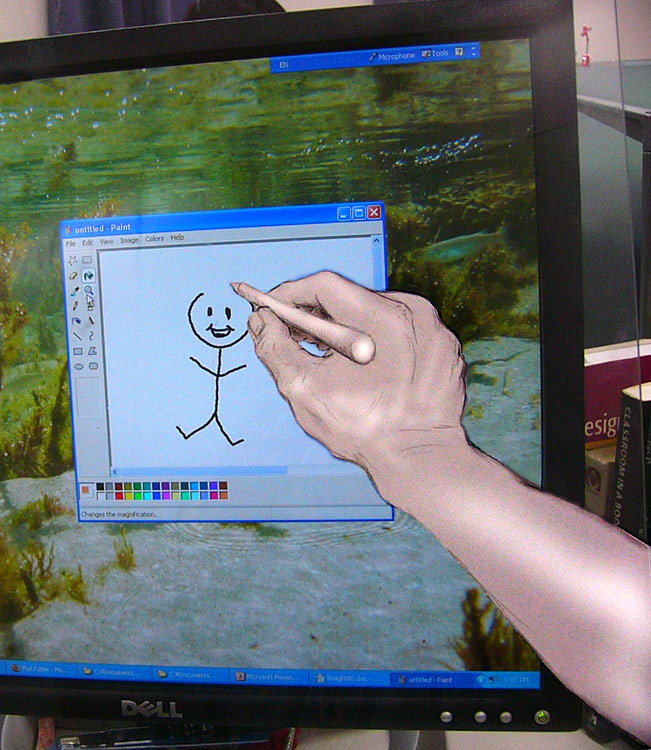 pencil-sketched arm appears to be painting stick figures directly onto a computer monitor