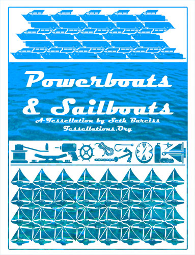 sailboat and powerboat theme tessellation art for a catalogue cover