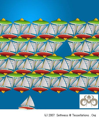 sailboat and powerboat theme tessellation art