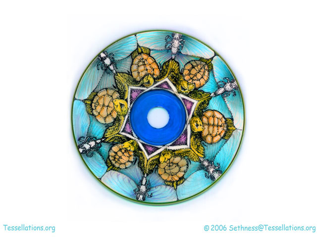 turtle and butterfly theme tessellation art on a CD